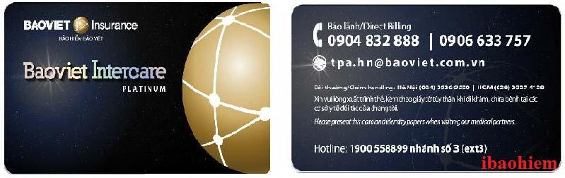 Mẫu thẻ bảo lãnh VIP (màu đen) của bảo hiểm Bảo Việt